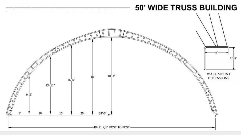 50' High Profile Hoop Barn Dimensions