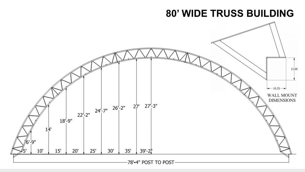 Profile dimensions 80' hoop barn
